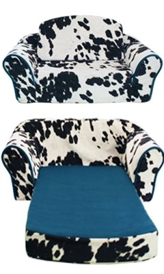 Cowprint Pull Out Sleeper Sofa With Turquoise Trim U0026 Interior