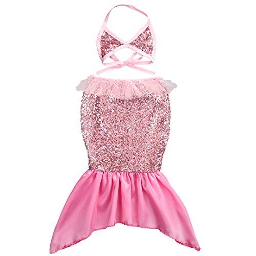 Pink Sequin Mermaid Costume (2pc Baby Kids Girl Mermaid Sequins Tails Costume Swimsuit Swimwear Bikini Dress (100(3-4 Years), Pink))