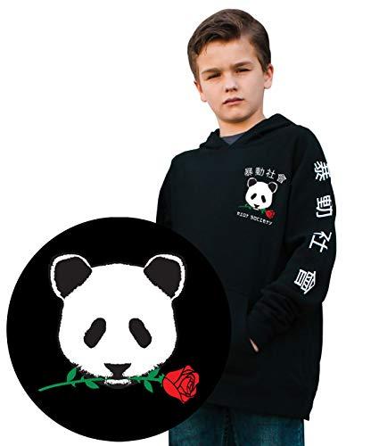 Riot Society Panda Rose Boys Hoodie - Black, Medium