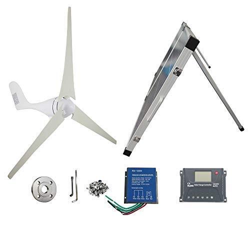 A-wonderful 500W Wind Solar Power:AC 12V 400W Wind Turbine Generator Kit + 12V 100W Portable Solar Panels + Wind Turbine Controller+ Solar Panel Controller+ Clip for Batteries, DIY Installation
