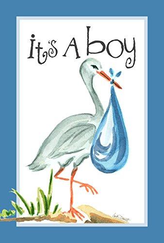Toland Home Garden It's A Boy 12.5 x 18 Inch Decorative Cute New Baby Blue Stork Garden Flag -