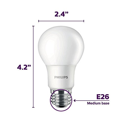 Philips LED Non-Dimmable A19 Frosted Light Bulb: 800-Lumen, 5000-Kelvin, 8-Watt (60-Watt Equivalent), E26 Base, Daylight, 16-Pack by Philips (Image #1)