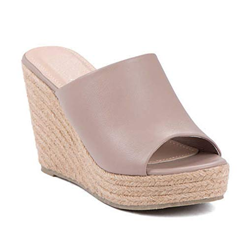 ShoBeautiful Women's Espadrille Platform Wedge Heel Peep Toe PU Sandals Summer Fashion Slippers EM04 Taupe 7 (Peep Toe Wedge Platform Heels)