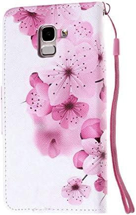Urhause Kompatibel mit Samsung Galaxy J6 2018 Hülle, Gemalt Wallet Flip PU-Handyhülle mit [Kartenslots][Magnetverschluss] Ständer Funktion mit Lanyard Stoßfeste Schutzhülle,Schmetterlingselefant