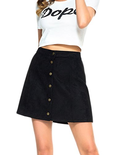 Tan Womens Skirt (PERSUN Women's Faux Suedettte Button Closure Plain A-Line Mini Skirt, Black, XL)