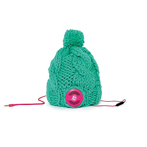 Earebel Green Hand Knitted Plait Bobble Hat Beanie with Built-In Pink AKG Headphones, Florence by Earebel powered by AKG