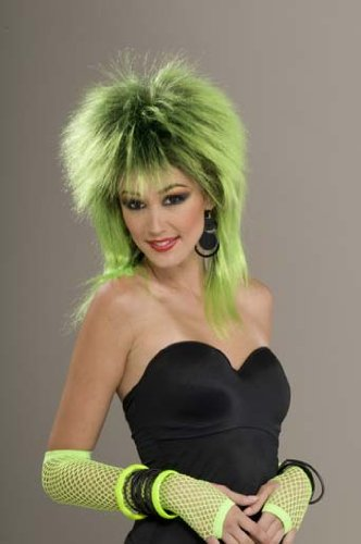[Lime Shock Green / Black Shag Wig] (Lime Green Wigs)