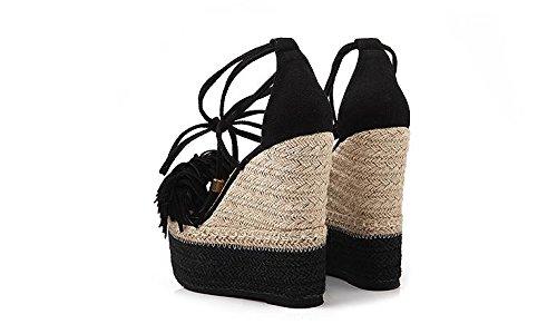 LvYuan Sandalias del verano de las mujeres / talón ultra ultra atractivo / plataforma impermeable / paja trenzando / talón de cuña / hebilla de la borla / oficina y carrera / zapatos romanos Black