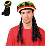 Mens Ladies Jamaican Bob Marley Rasta Hat With Dreadlocks - Rastafarian Hat Wig BY (WOT)