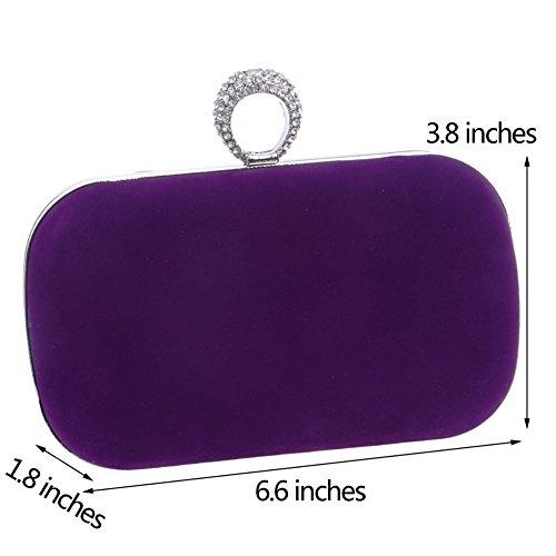 Fête Main Bandouliere Pochette Sac Bal Sac Mariage Chaîne Soirée Bourse Clutch à Purple pour Femme Maquillage An07Y
