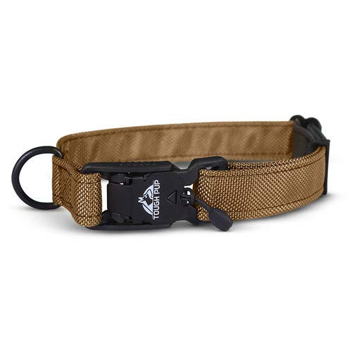 Tough Pup Hawkins Tactical Dog Collar with Magnetic Clasp, Sewn with Kevlar Thread, Handmade in USA (Coyote Tan, Large)