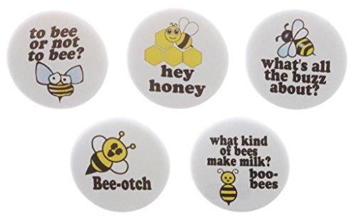 - A&T Designs Set 5 Funny Humor Cute Bee-otch Bee Honey Themed Magnets Buzz Honey Joke