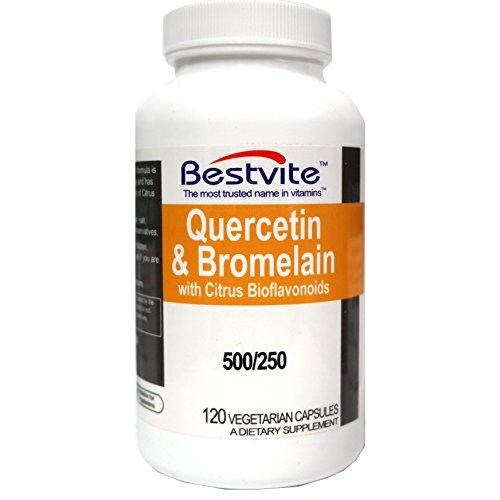 Quercetin with Bromelain 500mg/250mg per Capsule (120 Vegetarian Capsules) with Citrus Bioflavanoids - No Stearates