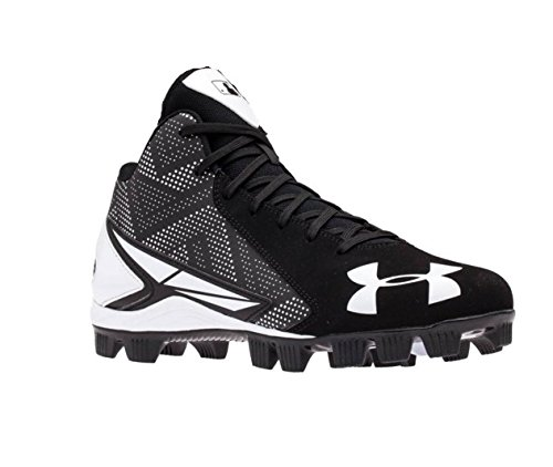Boy's Under Armour Leadoff Mid Jr. Baseball Cleat Black/White Size 2.5 M US
