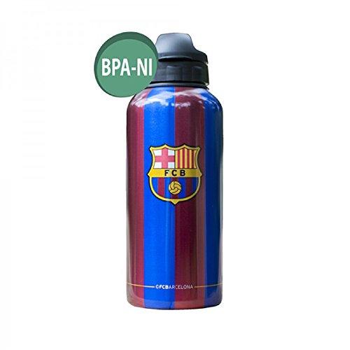 Barcelona Official Classic Aluminium Water Bottle (14oz) (Blue/Maroon)