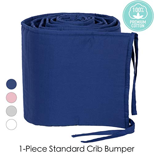 navy blue crib bumper - 9