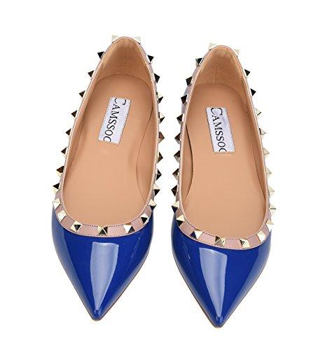 CAMSSOO Damen Klassische Nieten Spitzen Zehen Slip On Comfort Wohnungen Kleid Pumps Schuhe Blauer Patant Pu