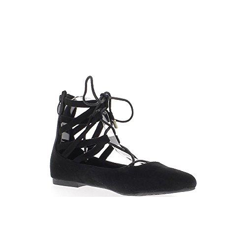 Ballerina nera tagliente con caviglia Pizzo e morsetti