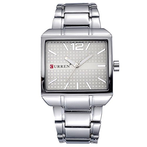 Classic square case men's watch silver dial watch stainless steel band analog watch casual joker wrist watch for fashion - Face Square Men Shape