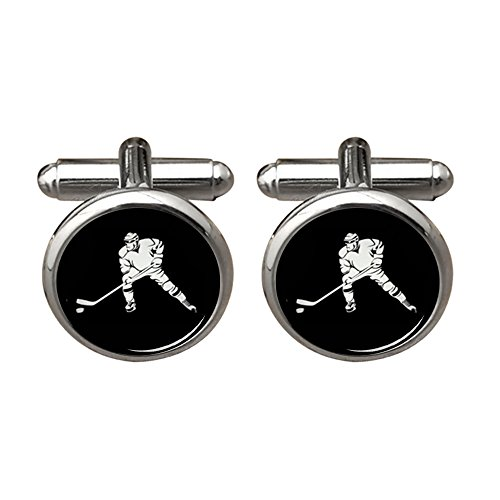 ZUNON Hockey Cufflinks Ice Hockey Player Winter Sports Team Logo Design Mens Birthday Groomsmen Cufflinks (Player Logo Team)