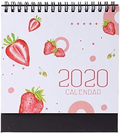Tischkalender Kalendarien 2020 Bunte Muster Desktop-Stehen Papier Doppelt-Spulen-Kalender Protokoll Tagesablauf Tabelle Planner Jahr Agenda Organizer (Color : D)