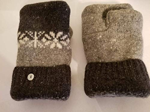 (2Wooly Mittens Handmade Fingerless Lambswool Mittens made from Recycled Sweaters. Made in the USA)