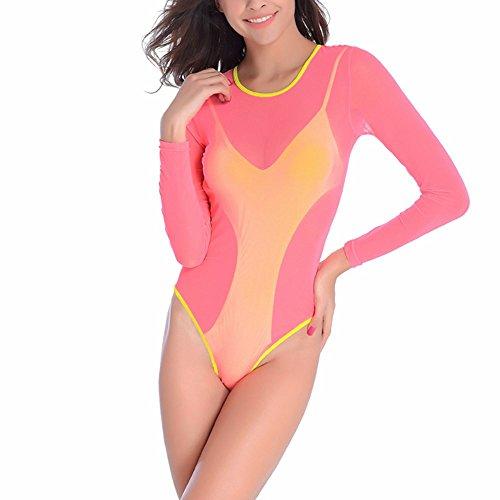 Sidiou Group de una sola pieza traje de baño traje de baño de la playa ocasional de playa del mar Doble traje de baño sin respaldo de una sola pieza traje de baño rosado