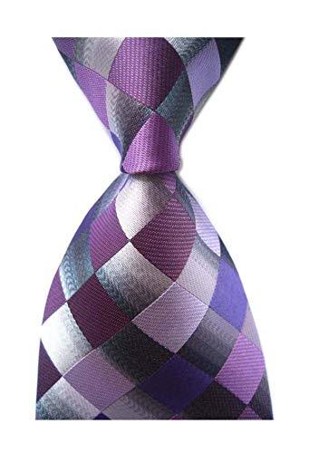 (Secdtie Men's Classic Checks Purple Grey Jacquard Woven Silk Tie Necktie)