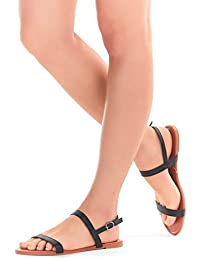 Womens Sandals, Double Strap, Open Toe Flat Summer Sandals For Women, Shoes For Ladies
