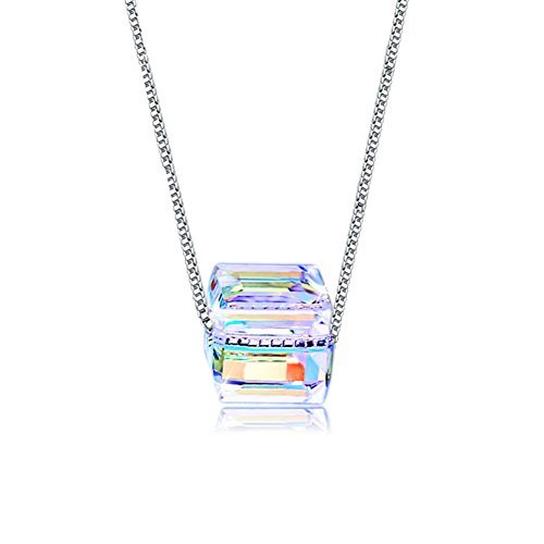 CAT EYE JEWELS Cube Crystal Necklace S925 Sterling Silver Inlay Sugar Color Square Necklace ()
