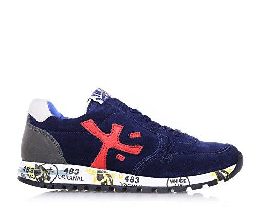 PREMIATA - Chaussure à lacets bleue, en suède et cuir, avec lacets bleus, caractérisée par une inter-semelle imprimée qui la rend unique, garçon, garçons