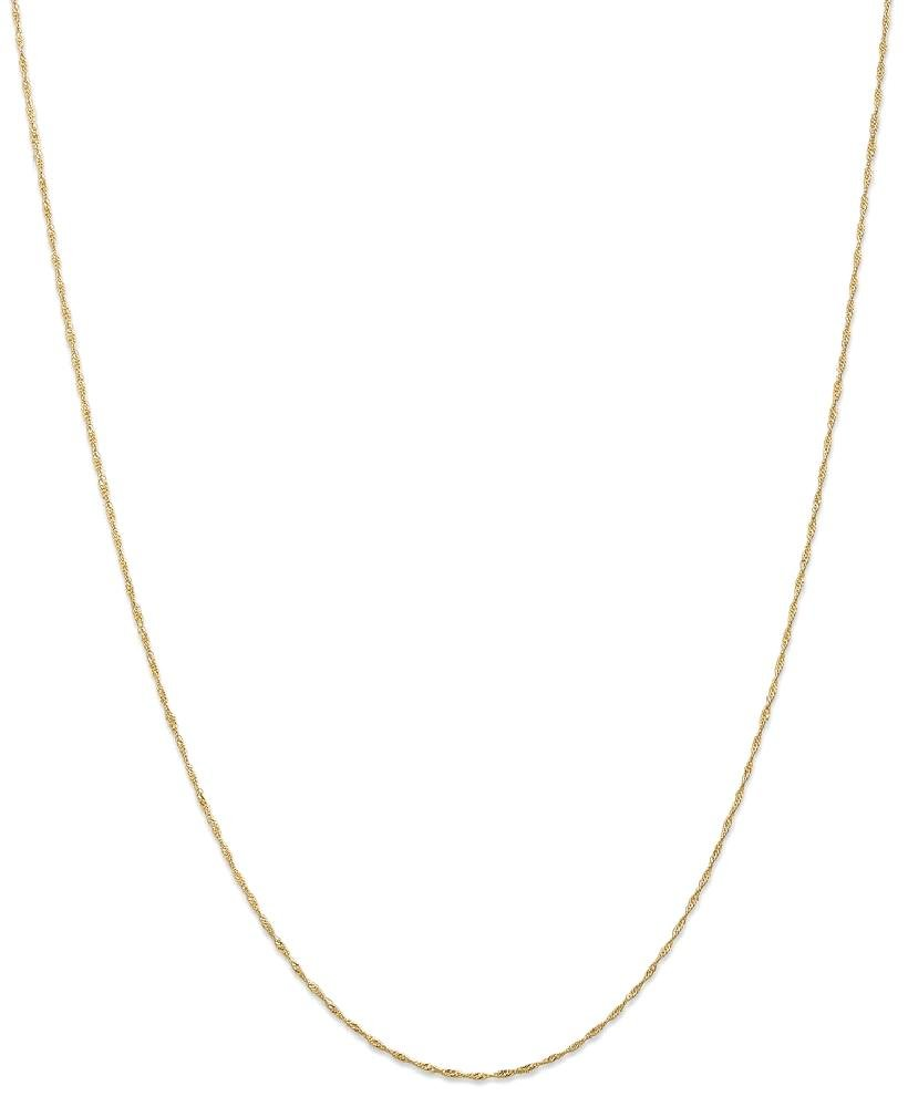 ICE CARATS 14k Yellow Gold 1mm Link Singapore Chain Necklace 30 Inch Fine Jewelry Gift Set For Women Heart