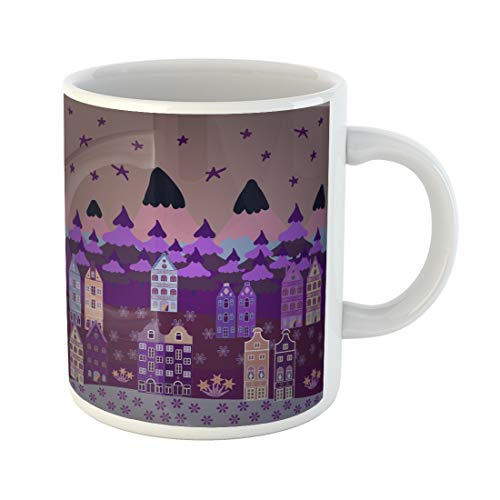 Semtomn Funny Coffee Mug Perfect Nursery Nice Nature Landscape on Neutral Purple and Violet 11 Oz Ceramic Coffee Mugs Tea Cup Best Gift Or Souvenir -