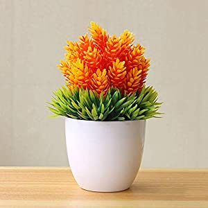 MARJON FlowersArtificial Potted Plant Fake Bonsai Grass/Flower for Home Office Hotel Desk Decor Orange 43