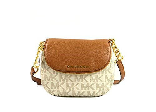 Michael Kors Bedford Leather Crossbody Bag Purse Handbag (Vanilla/Acorn) by Michael Kors