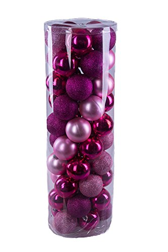 - Pink Decorative Christmas 60mm Shatterproof Orbs and Ornaments - 50 Pack