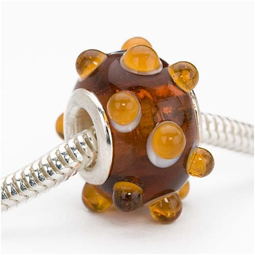 Murano Style Glass Lampwork Bumpy European Style Large Hole Bead - Brown Amber Rootbeer 16mm (1)
