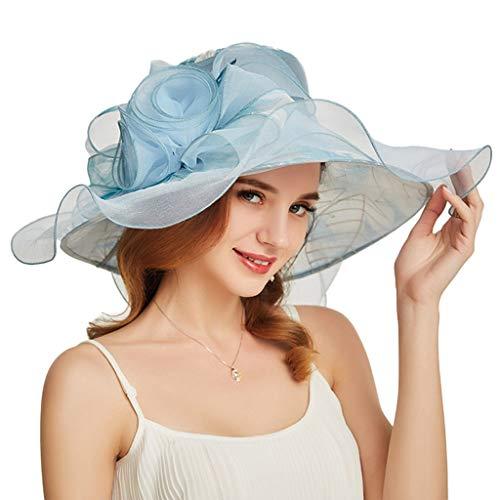 (Women Organza Kentucky Derby Sun Hats Summer Wide Brim Church Wedding Cap with Big Flower Blue)