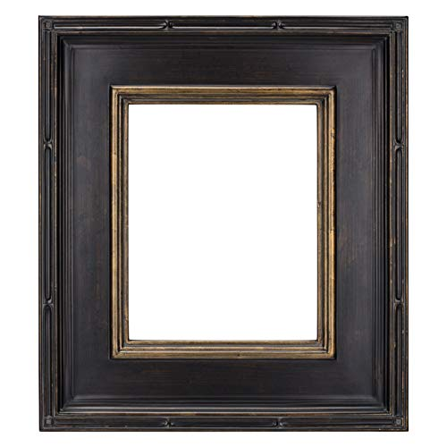 Creative Mark Museum Plein Aire Picture Frame Wooden Art Frame Museum Quality Closed Corner Ready Made 3.5 Inch Wide Frames - [Antique Black w/Gold Detail - 18x24] - Nyc Antique