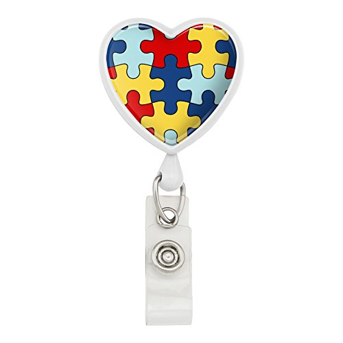 ersity Puzzle Pieces Heart Lanyard Retractable Reel Badge ID Card Holder - White ()
