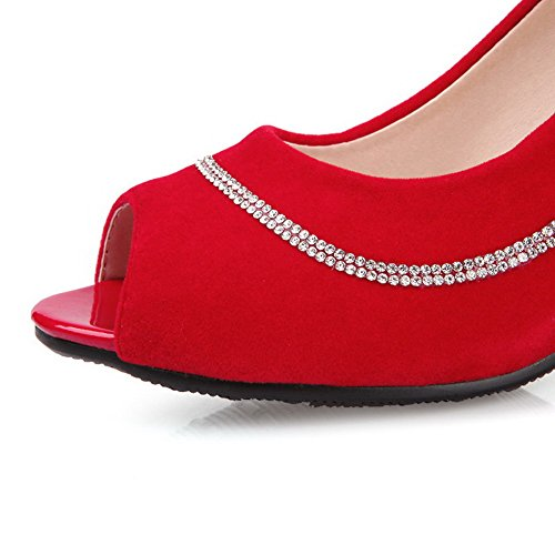 AgooLar on Pull Toe Peep Solid Heels Sandals Women's Red High Frosted qFFgWAO
