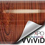 """VViViD High Gloss Red Cedar Striped Wood Grain Faux Finish Textured Vinyl Wrap Contact Paper Film for Home Office Furniture DIY No Mess Easy to Install Air-release Adhesive (1ft x 48"""")"""