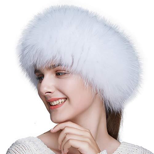 ENJOYFUR Women Headband Fox Fur Headband Winter Earwarmer Earmuff -