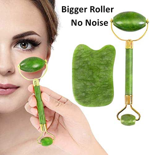 Big Jade Roller For Face Real Jade 100% and Gua Sha Scraping Tool, Face Eye Neck Anti Aging Facial Therapy, Natural Jade Stone No Squeaks Face Roller And Gua Sha Set