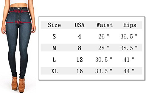 Cintura Oscuro alta para Slim AUSERO Azul Vaqueros mujer Jeans CAnqxx8t