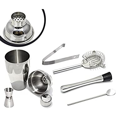 Stainless Steel Cocktail Shaker Set - 5pc Bar Set with FREE MUDDLER for limited time - Cocktail Shaker - Strainer - Jigger - Tongs - Bar Spoon (18.5 oz)