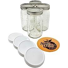 Ball Quart Mason Jars with Storage Lids and Jar Opener - Bundle Pack of 4 32 oz Wide Mouth Jars, 4 Storage Caps, and 1 Spirit Quest Supplies Large Jar Opener