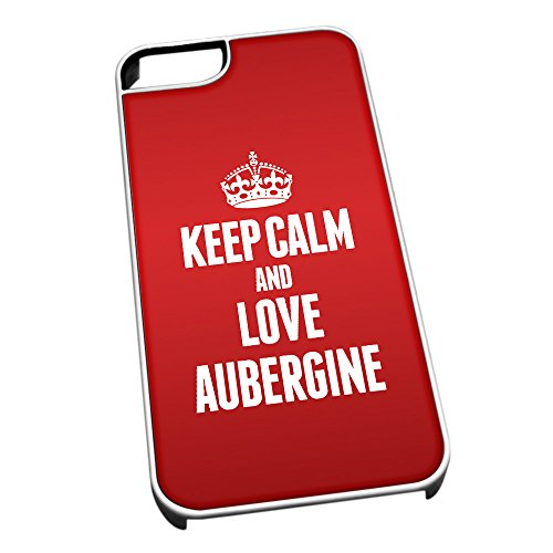 Bianco cover per iPhone 5/5S 0784Red Keep Calm and Love melanzana