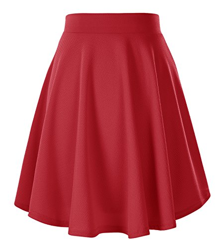 Urban CoCo Women's Basic Versatile Stretchy Flared Casual Mini Skater Skirt (Large, - Pastel Urban