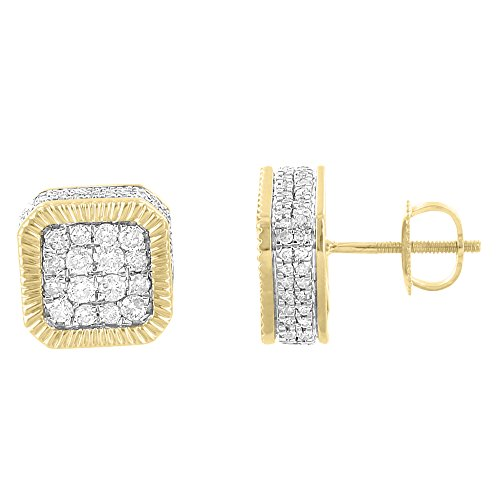 Solitaire Screw Back Earrings 14k Yellow Gold Round Cut Diamonds 10mm Brand New by Master Of Bling